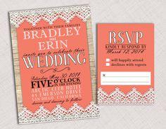 Wood & Lace Trim Wedding Invitation and RSVP
