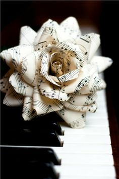 Paper flowers from sheet music. Make a bouqet of them to walk down the aisle with? Makethem out of the sheet music of you and your fiance's favorite music and the song you will dance to ! :)