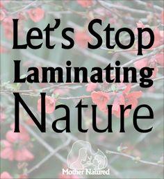Let us stop laminating nature