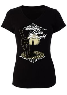 """Walkin' After Midnight"" T-shirt template with cat in modern vintage style."