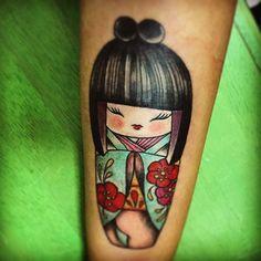 La mia Kokeshi ❤️ #tattoo#kokeshidoll#dolore#kokeshitattoo#