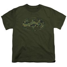 BATMAN/MARINE CAMO SHIELD - S/S YOUTH 18/1 - MILITARY GREEN -