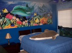 dolphin murals for bedrooms | Dolphin Theme Wall Murals for Kids Bedroom