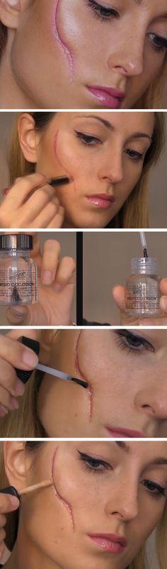 Easy Scar | Click Pic for 26 DIY Halloween Makeup Ideas for Women | DIY Halloween Dress Up Ideas for Adults