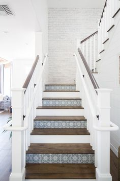 Foyer, entry stairs, ship lap walls, farmhouse stairs, modern farmhouse d. Tiled Staircase, Painted Staircases, Tile Stairs, Entry Stairs, Entrance Foyer, Staircase Design, Spiral Staircases, Staircase Ideas, Staircase Painting