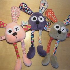 3 doudous lapins personnalisés - réservés