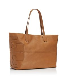 """Leather Stacked """"t"""" Tote 