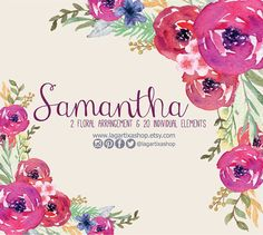 Watercolor Flowers, Florals, Flower arrangements for invitations, quotes, cards, wedding, design, hand painted, roses fuchsia, hot pink, art