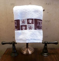 Grandma can make these for Sam!   **TEXAS A & M Aggies NCAA Hand Towel Football Hand by OnBendedKne, $9.99