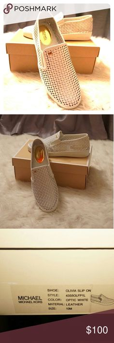 Michael Kors Olivia Perforated Slip On Sneakers Step out this summer and enjoy these new white Michael Kors Olivia perforated slip on sneakers. Perfect to pair with shorts, jeans, or sun dress. Michael Kors Shoes Sneakers