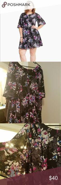 SALE* NWOT - Torrid Flutter Sleeve Plus Size Dress Floral chiffon style dress, hits above the knee. Very cute, tried on and it was a little too short for work. Cleaning out my closet! torrid Dresses