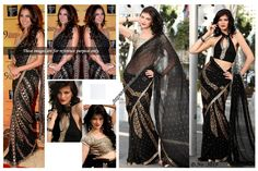 EXCLUSIVE DEIGNER BOLLYWOOD REPLICA SAREE SIMILAR TO WARN BY BOLLYWOOD STAR    SAREE LENGHT 6.30 MTR    PICTURE OF ACTRESS IS HERE FOR REFERENCE ONLY