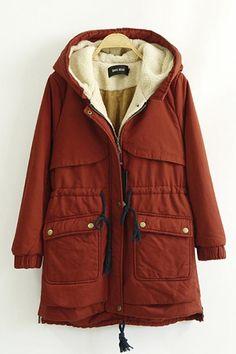 Drawstring Hooded Long Sleeve Cotton-Padded Winter Coat