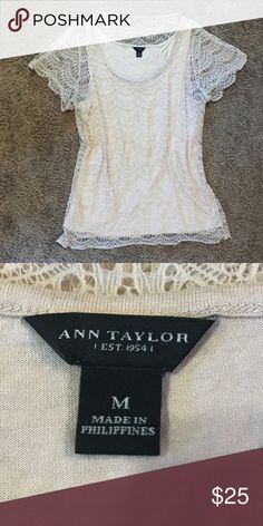 Ann Taylor Eyelet Lace Cream / Taupe Blouse This top is a darker cream color. It's been worn a couple times, but it's still in really great condition. It's a size medium, and is true to size. It has a cream colored slip underneath, so you don't have to worry about it being see-through. The lace on top is really thin, so it makes the shirt pretty breathable as well. The lease shell is made of 100% nylon, and the lightning is made of 70% rayon and 30% lyocell. Please let me know if you have…