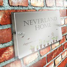 House Sign Door Number Street Address Plaque Matte Glass Effect Acrylic