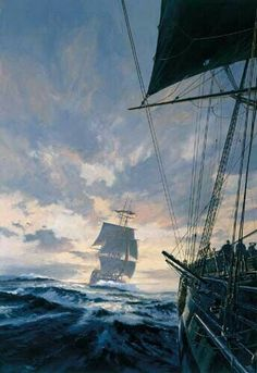 """Geoff Hunt Print - """"Desolation Island"""" Cover art for Patrick O'Brian's Aubrey-Maturin series book Pirate Art, Pirate Life, Nautical Artwork, Old Sailing Ships, Between Two Worlds, Ship Paintings, Ship Art, Tall Ships, Illustration"""