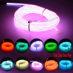 Neon LED Light Glow EL Wire String Strip Rope Tube Decor Car Party with Controller Fantastic Atmosphere Tube Led, Led Tubes, Led Tube Lights, Neon Lighting, Strip Lighting, Lighting Design, Bar Deco, Neon Bedroom, Neon Lights Bedroom