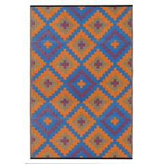 Saman Blue and Orange | indoor & outdoor rugs, Fab Habitat