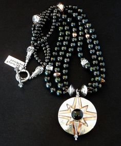 43mm Onyx, Sterling & Copper Pendant with 3 Strands of Black Pearls, Ornate Copper and Sterling