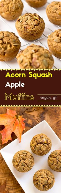 These acorn squash apple muffins are ingeniously moist. They are gluten-free, vegan, and no-sugar-added.