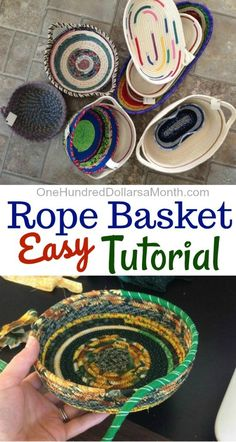 How to Make a Rope Basket - One Hundred Dollars a Month - Today my friend Zoe is popping over to do a super fun guest post. Thanks for sharing your skills wi - Fabric Basket Tutorial, Purse Tutorial, Fabric Bowls, Rope Crafts, Diy Crafts, Handmade Crafts, Handmade Rugs, Fabric Scraps, Scrap Fabric Projects