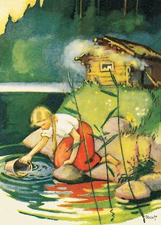 Martta Wendelin was a Finnish artist whose work was widely used to illustrate fairy tales and books, postcards, school books, magazine and book covers. Art And Illustration, Illustrations Posters, Vintage Posters, Vintage Art, Inspiration Art, Gnome, Paintings I Love, Vintage Children, Art Nouveau