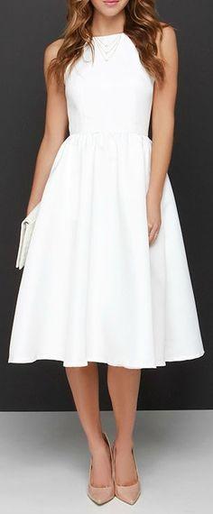 Lead a Charmed Life Ivory Midi Dress