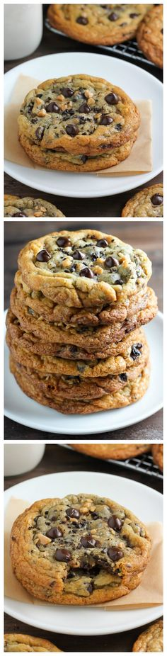 Espresso Toffee Chocolate Chip Cookies - Who needs a cup of coffee in the morning when you can have one of these cookies instead? (party desserts in a cup) Cookie Desserts, Just Desserts, Cookie Recipes, Delicious Desserts, Dessert Recipes, Yummy Food, Health Desserts, Party Desserts, Chocolate Chip Cookies