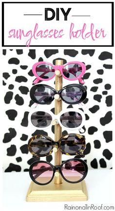 Have a lot of pairs of sunglasses and not a place to put them all? Make this DIY sunglass holder to store your glasses and display them. Enjoy them even when you aren't wearing them! Sunglasses Storage, Ray Ban Sunglasses, Cat Eye Sunglasses, Sunglasses Women, Sunglasses Holder, Sunglasses Organizer, Sunnies, Trending Sunglasses, Mirrored Sunglasses