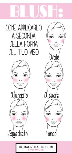 How to apply blush according to the shape of your face!- Come applicare il blush a seconda della forma del tuo viso! How to apply blush according to the shape of your face! Oval Face Makeup, Pink Lips Makeup, No Eyeliner Makeup, Makeup 101, Diy Makeup, Beauty Make Up, Face Beauty, Bright Pink Lipsticks, Beauty Makeup