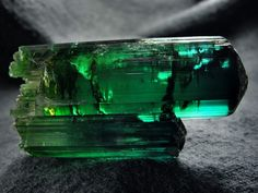 Elbaite - Deepest bluesh-Green coloure tourmaline crystals, from Manoel Mutuca Mine, Virgem da Lapa, Jequitinhonha valley, Minas Gerais, Southeast Region, Brazil  Frim mindat