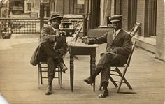 African American Men Sitting Around Table  Ca. 1920's  Vintage African American photography courtesy of Black History Album, The Way We Were.  Follow Us On Twitter @blackhistoryalb