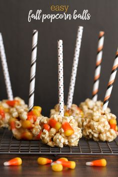 Simple and delicious Fall Popcorn Balls - a dessert the whole family will love!