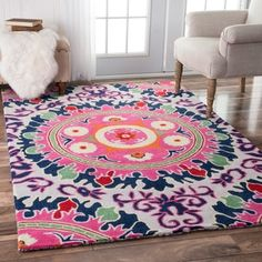 nuLOOM Handmade Abstract Floral Ikat Multi Rug (5' x 8') - 17854766 - Overstock.com Shopping - Great Deals on Nuloom 5x8 - 6x9 Rugs