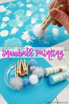 Super Easy Snowball Painting Your preschool kids will love this Super Easy Snowball Painting art for kids. You can even add glitter for a cute & fun winter time snow activity. Pom pom ball crafts are my favorite to keep my kids busy on cold days. Snow Activities, Winter Activities For Kids, Winter Crafts For Kids, Winter Kids, Art For Kids, Winter Storm, Winter Crafts For Preschoolers, Snow Preschool Crafts, Winter Activities For Preschoolers