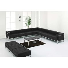 Hercules Imagination Series Black Leather 12pc Sectional