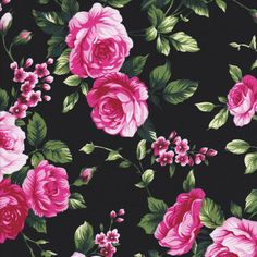 Fabric Smell the Roses Pink Floral Roses on by HeartsandFound
