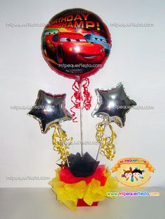 decoracion con globos tema cars df - Google Search