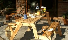 available for sale Folding Picnic Table Bench, Diy Picnic Table, Picnic Table Plans, Wooden Bench Plans, Woodworking Projects Diy, Lanterns, Projects To Try, House, Furniture