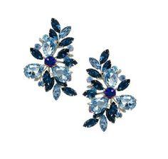 5.5x3.5cm Stylish Blue Crystal Special Design Earrings Clip Insertion Women Jewelry Earring