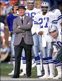 Steve Pelluer,Kevin Brooks ,Ron Fellows,Bill Bates can be seen in background Cowboys Football, Dallas Cowboys Coaches, Nfl Coaches, Football Fans, Sports Teams, Tom Landry, How Bout Them Cowboys, Football Hall Of Fame, Great Team