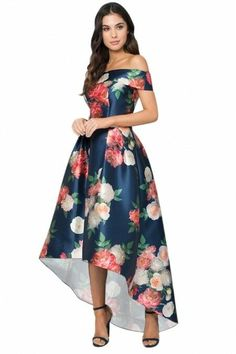 0d6ab226131 Women Satin Floral Off Shoulder Prom Dress Formal Gorgeous Wedding Party  Wear