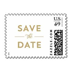 Modern, Bold Type Wedding Save the Date in Gold Postage Stamp