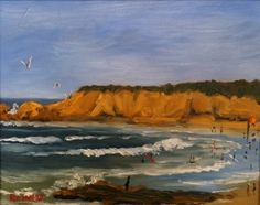 """Torquay Surf Beach painting. 8"""" x 10"""" Oil on Geso Board in white frame. Impressionist seascape by Rod More. SOLD"""