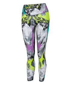 Love this Active Fit Light Gray Collage Leggings by Active Fit on #zulily! #zulilyfinds