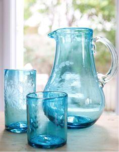 The Little Market Aqua Round Glass Pitcher