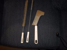 Three White Handled Brushes, One With Metal At Top - Fuller Brush Company