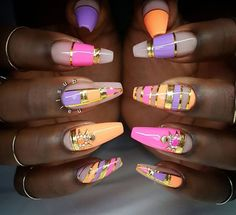 Orange pink purple nails nailart design - credits to the artist Get Nails, Dope Nails, Fancy Nails, Hair And Nails, Fabulous Nails, Gorgeous Nails, Pretty Nails, Nail Art Designs, Nails Design