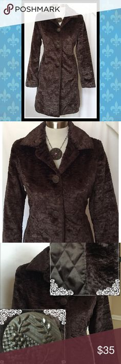 Weatherproof chocolate brown, faux fur coat, sz S This coat successfully combines both, fashion and function in a delicious chocolate brown color. It is so cute on, the fur looks like a real Persian fur coat and it features a gorgeous brown satin, insulated lining. It is definitely warm enough for slightly freezing temperatures. I wore it a few times, but it too snug, so, sadly I need to part with it. Also, it has pretty buttons!! Excellent condition!! Weatherproof Jackets & Coats