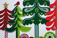 detail from a Marks & Spencer chocolate chunk selection biscuit tin designed by Sanna Annukka showing alpine trees